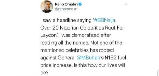 BBNaija : Reno Omokri drags Nigerian celebrities