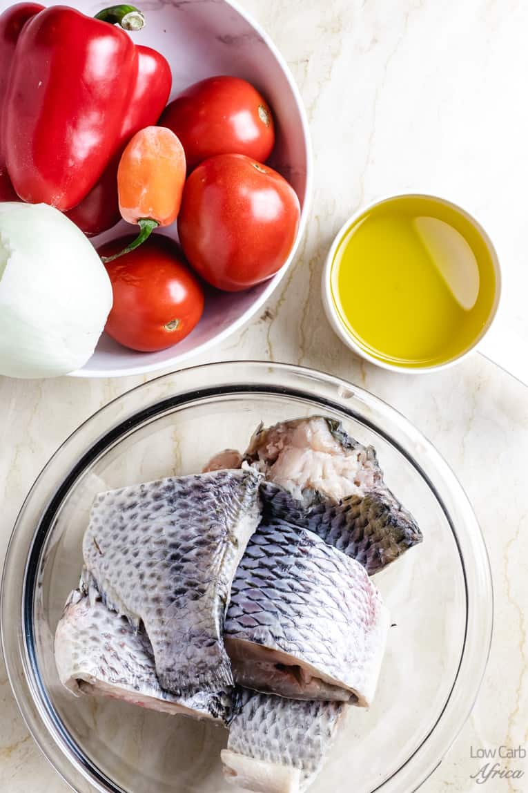 tilapia and other ingredients to make stew
