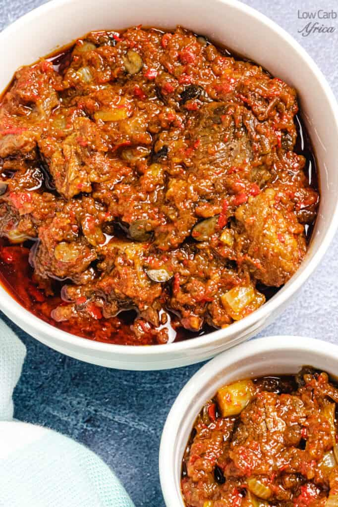 two bowls of low carb ofada stew