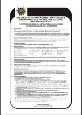 WAEC GCE 2021 registration