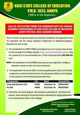 Kogi State College of Education Post-UTME 2021