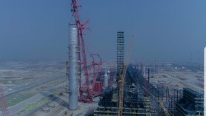 Dangote Refinery Has Successfully Installed The Largest Single Crude Distillation Column Where Different Products Boil Off (from the crude mixture) And Are Recovered At Different Temperatures.