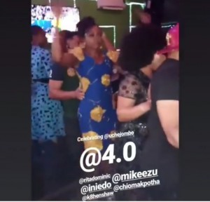 Bikini Clad Uche Jombo Thrown Into The Pool By Ini Edo At Her Birthday Party It was a fun sight as Uche Jombo celebrated her 40th birthday at a pool side bash with friends and colleagues.