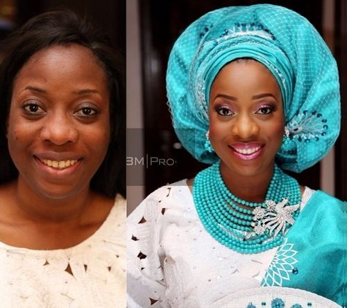 picture of bride in before and after makeover