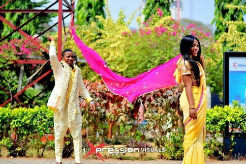 nigerian couple in indian themed engagement photo shoot