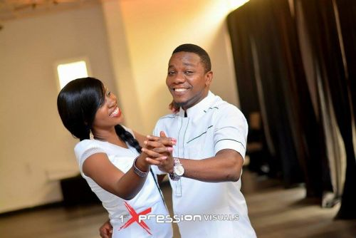 couple in white themed pre-wedding picture