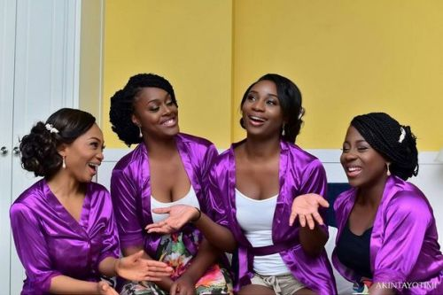 bride and bridesmaids in purple silk robes