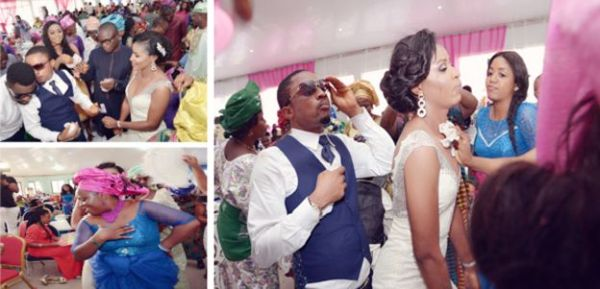 pictures of couple n guests dancing at a benin church wedding