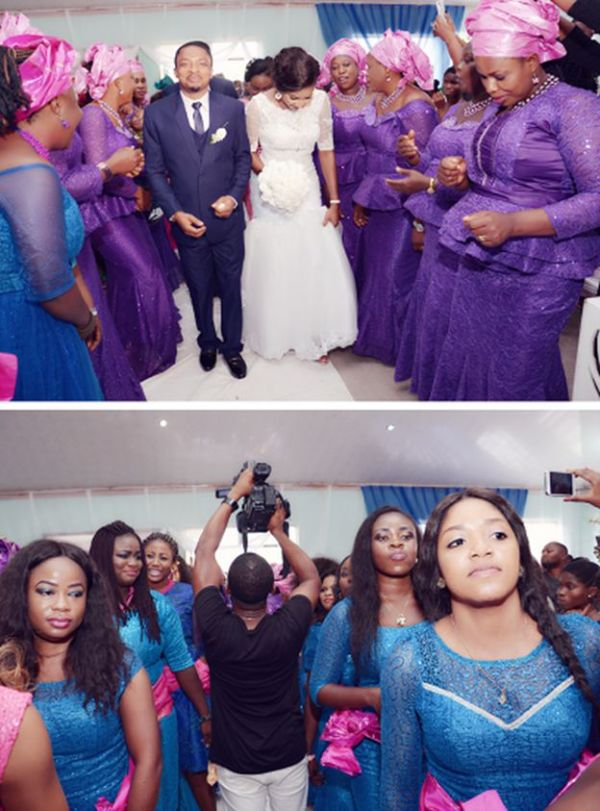 Pictures of purple and blue aso-ebi dresses colour from a benin wedding