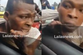 Lagos traffic thief gets caught in the act, receives beating on the move (Video)
