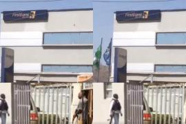 Armed robbers trapped inside First bank Mpape Abuja (Video)
