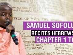 Samuel Sofoluwe reciting the book of Hebrews