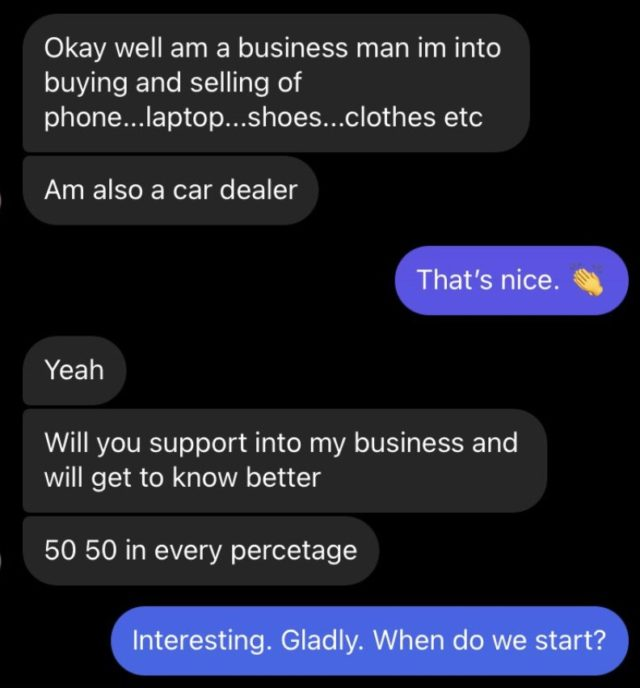 Lady shares chat with scammer who tried to dupe her of N10million