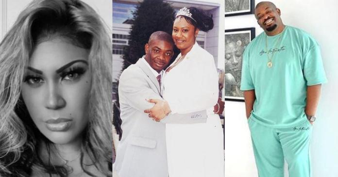 Don Jazzy's ex-wife, Michelle finally reacts to her height in their wedding photo