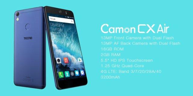 Tecno Camon CX Air – Key Specs
