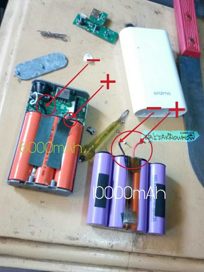 Powerbank Conversion | Opened PB 1 & extracted PB 2 battery cell.
