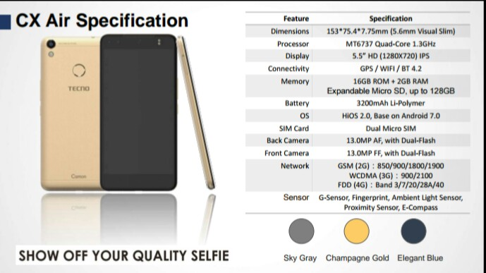 TECNO Camon CX Air Key Specifications