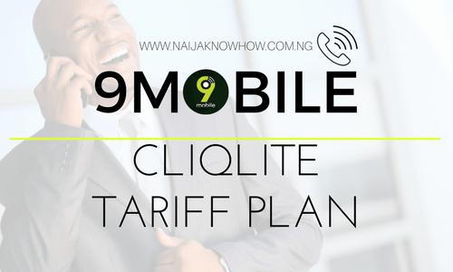9MOBILE CLIQLITE TARIFF PLAN