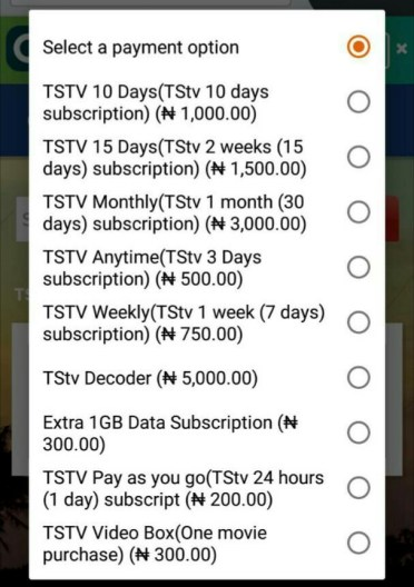 About TSTv decoder subscription table - Quickteller