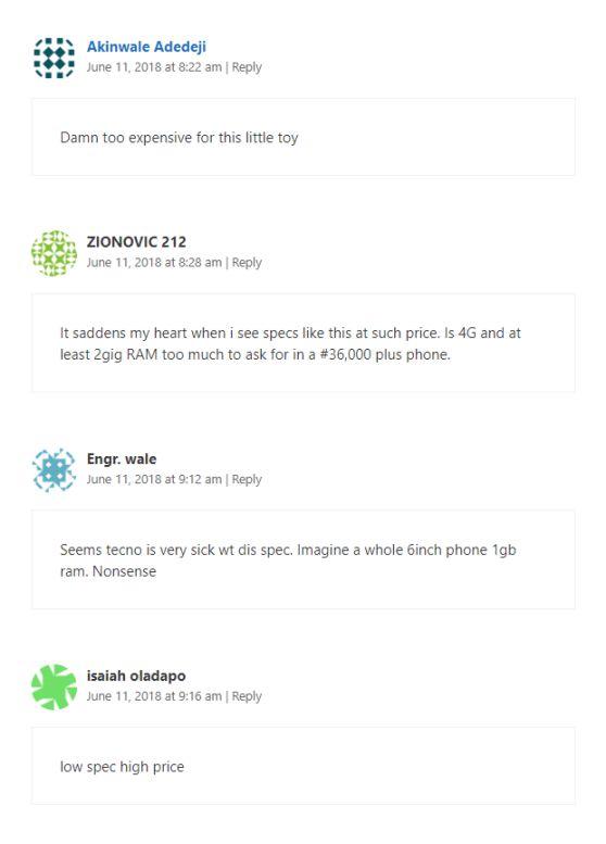 tecno spark 2 comments