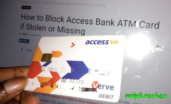 how to block access bank atm card