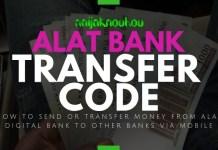 ALAT BANK TRANSFER CODE