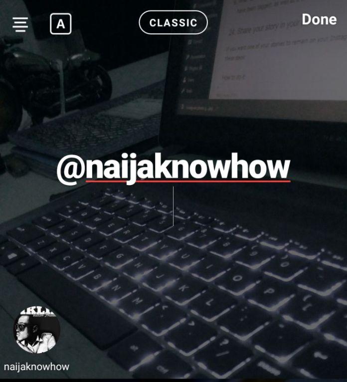 mention user on instagram status