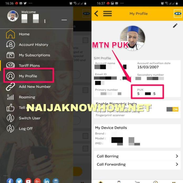 MTN PUK on MyMTN App