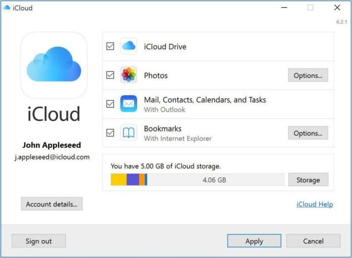 Apple iCloud Service for Windows