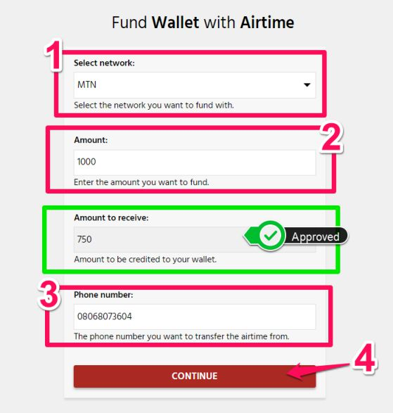 Aimtoget - Fund wallet with airtime