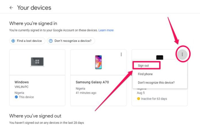 google security settings - manage devices 2