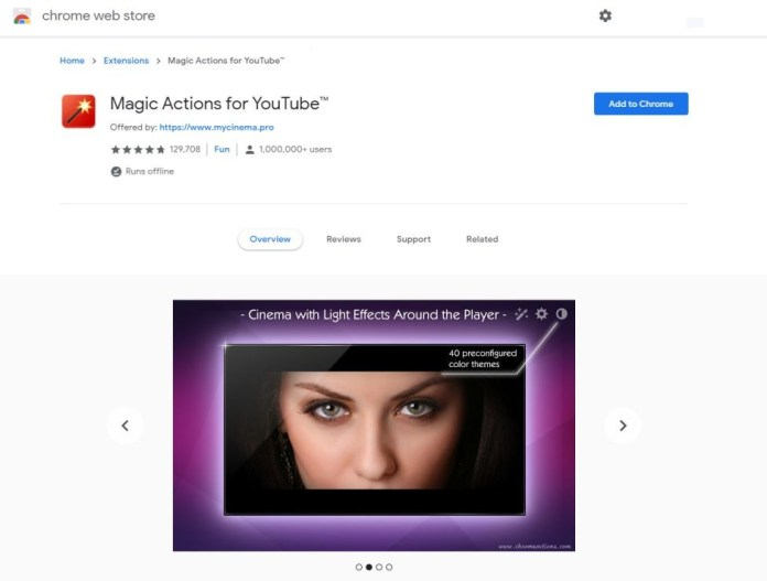 magic actions for youtube extension