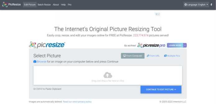 Picresize – Online Photo Editor