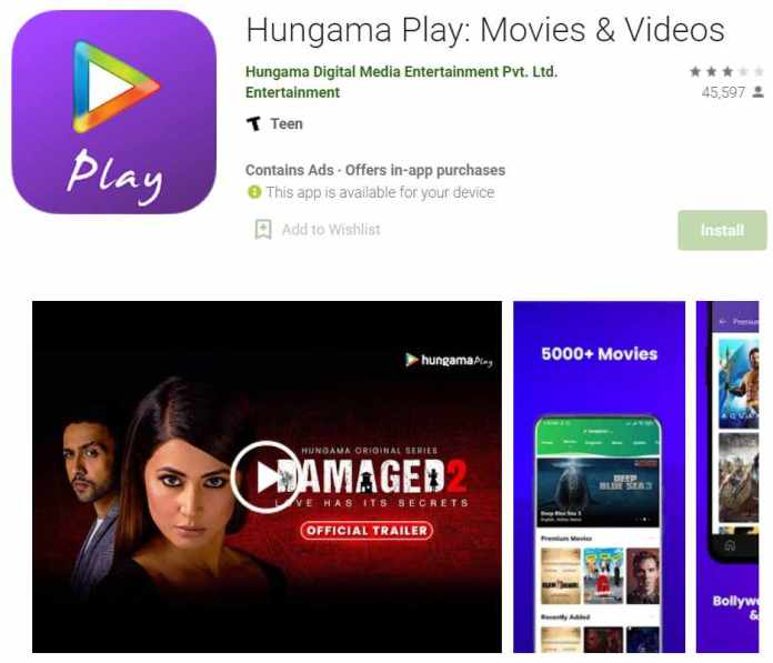 Hungama Play - app to watch indian movies
