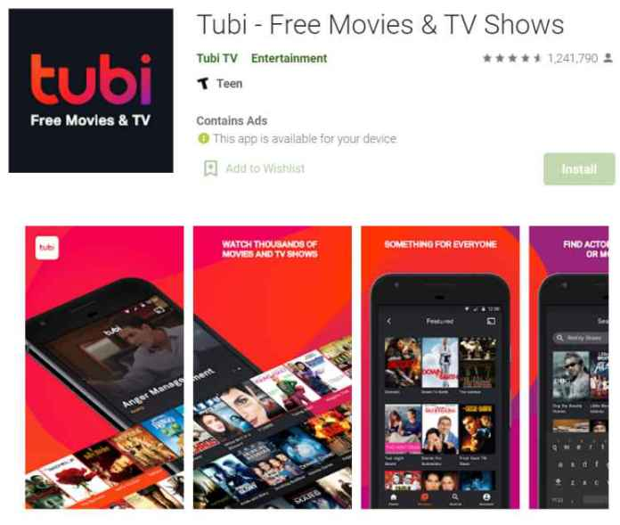 Tubi TV - app to watch indian movies
