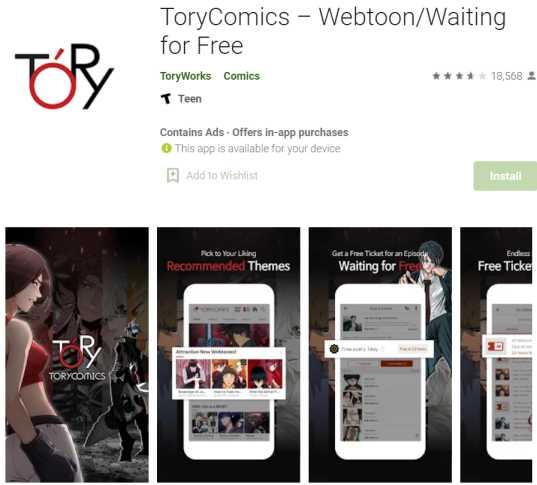 ToryComics – Webtoon reading sites and apps