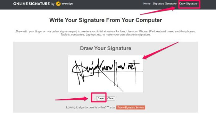 Create a Digital Signature Online via PC