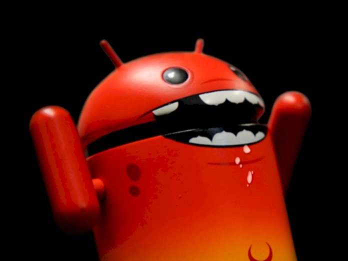 Android mascot with a look like Malware