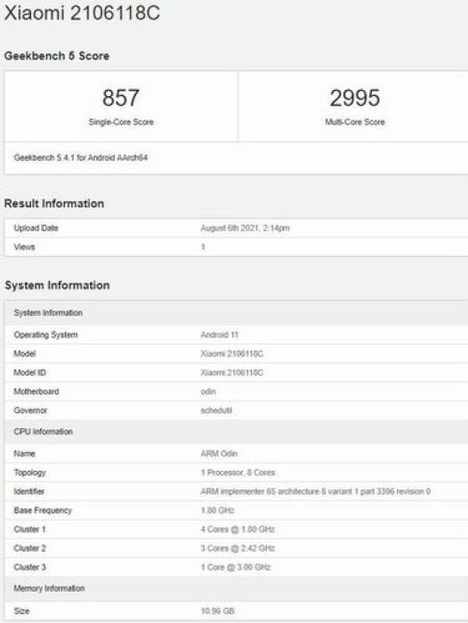 Leaked Xiaomi Mi MIX 4 geekbench