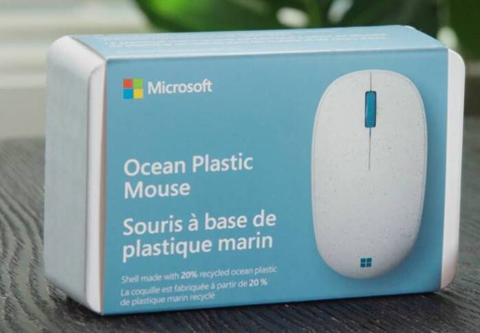 Microsoft mouse made from recycled plastic