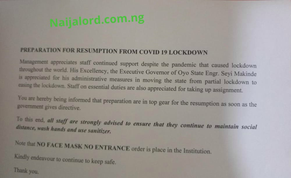 Poly Ibadan Gives Green Light on School Re opening.[Photo]