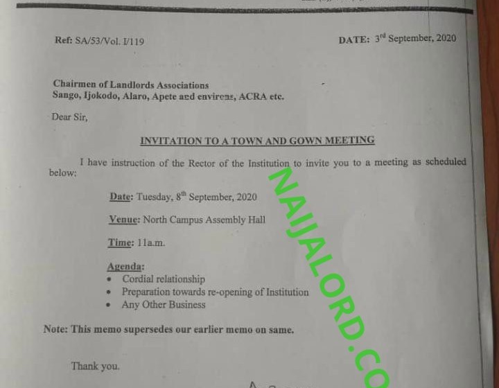 """The Polytechnic Ibadan,Calls Students Area Landlord's Association For """"Town And Gown"""" Meeting"""