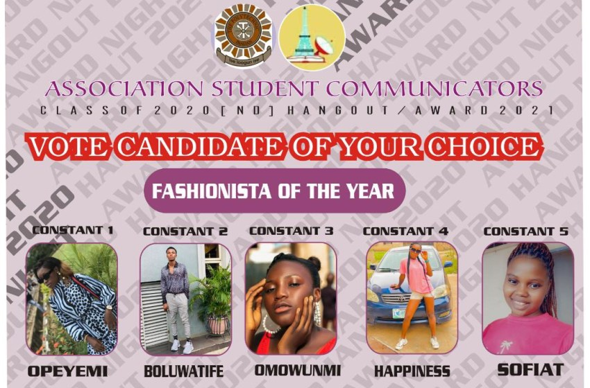 VOTE STUDENT FASHIONISTA OF THE YEAR ASCOM AWARDS