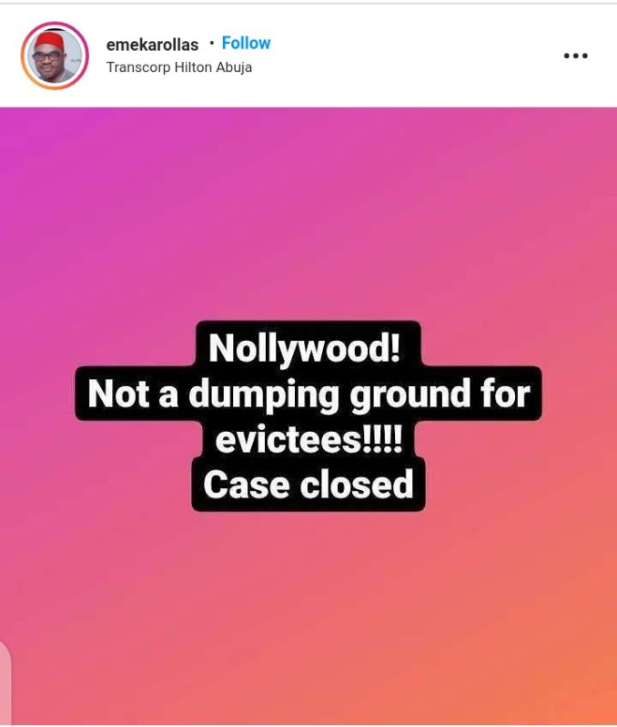 Nollywood Is Not A Dumping Ground For Evicted Housemates