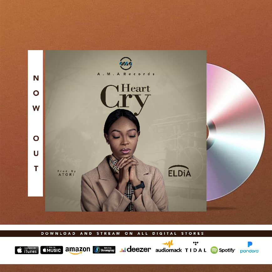 """A.M.A records newly signed artist Eldia releases her debut single under the label titled  """"HEART CRY"""" .   The glorious sound was produced, mixed and mastered by Atori for A.M.A records. The Nigerian based music minister has been known for life changing powerful ministrations with her unique way of revealing God's glory through her powerful voice.  The song HEART CRY was birthed in hunger for the continuous revival of the nations through the Holy Spirit as we await the coming of our Lord and saviour Jesus.  Let this song minister to you and revive your Spirit man, that you begin to yearn for Jesus the more. Kingdom advancement , revealing Jesus.  Production Credit : Piano : Abamba david Produced by : Atori Mixed and mastered by : Atori Recorded at : Delta talent development hub Art cover : Richboi graphics  Listen and be blessed     https://fanlink.to/eldia-heartcry"""