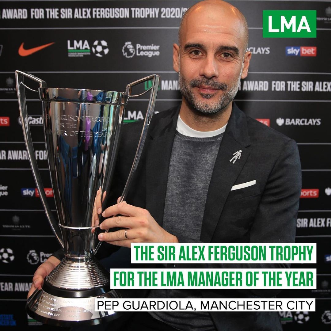 Pep Guardiola Bags League Manager of the Year Award for 2020/21 Season