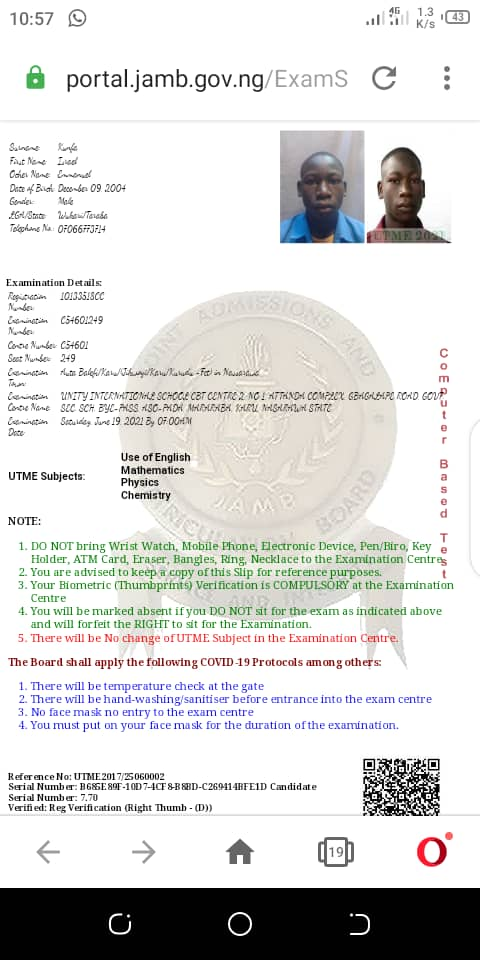 PHOTOS OF STUDENTS WHO HAS REPORTEDLY DONE THEIR JAMB 2021 REPRINT SLIP