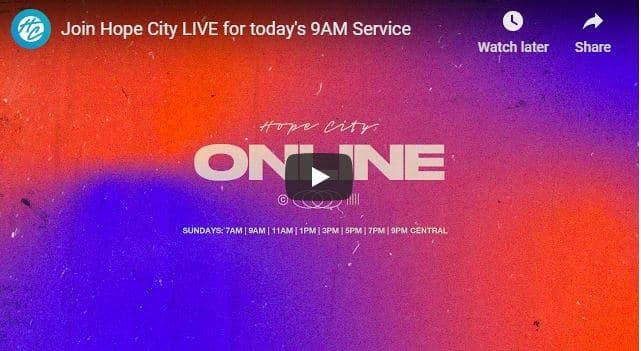 Hope City Church Sunday Live Service August 9 2020