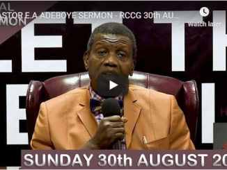 RCCG Sunday Live Service August 30 2020
