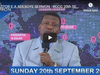 RCCG Sunday Live Service September 20 2020